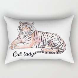 Cat Lady Funny Tiger Watercolor Illustration Rectangular Pillow