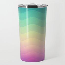 Abstract Geometric Rainbow Waves Pattern (Multi Color) Travel Mug