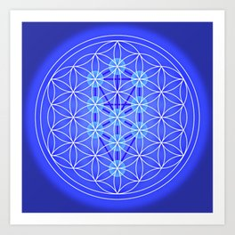 Flower Of Life - Blue Art Print