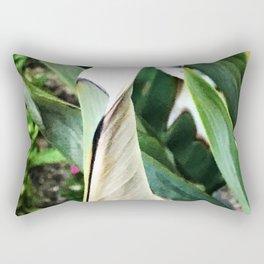 Exotic Bird of Paradise Captivating Leaves Macro Photo Rectangular Pillow