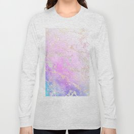 Modern rainbow glitter marble on nebula watercolor ombre Long Sleeve T-shirt