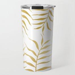 Gold palm leaves Travel Mug