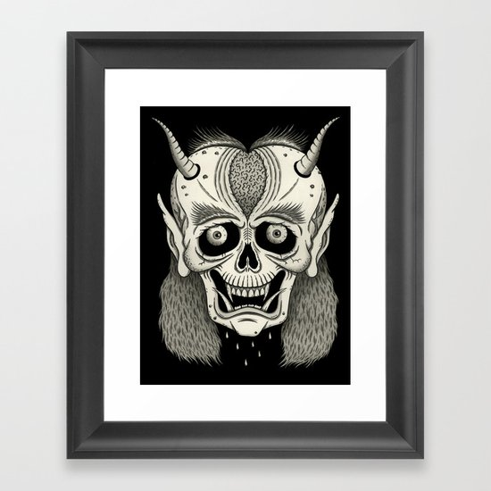 Grinning Skull with Horns Framed Art Print