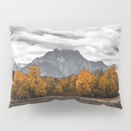 Teton Fall - Autumn Colors and Grand Tetons in Black and White Pillow Sham