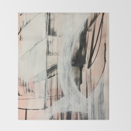 Sweet Tart [2]: a minimal abstract mixed-media piece in pink black and white by Alyssa Hamilton Art Throw Blanket