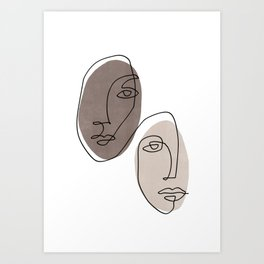 Two faces - Black and White Art Print