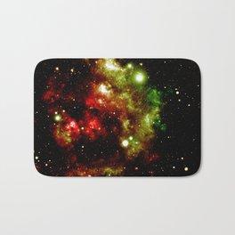 Galaxy Nebula Red Gold Green Bath Mat
