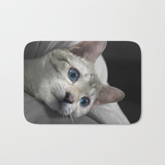 The Blue Ice in the Snow Bengal Cat's Eyes Bath Mat