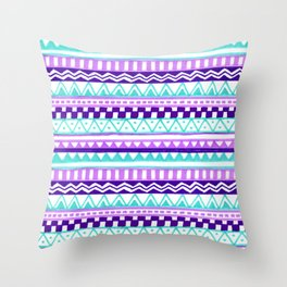 Purple Turquoise Inca Pattern Throw Pillow