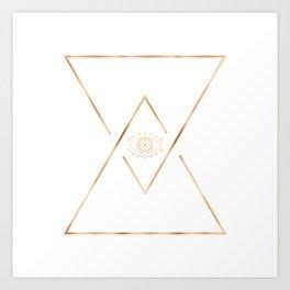 Mandala Gold Geometric Eye Art Print