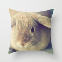 bunny Throw Pillows featuring Bunny by Jessica Torres Photography