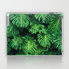 Monstera leaf jungle pattern - Philodendron plant leaves background Laptop & iPad Skin