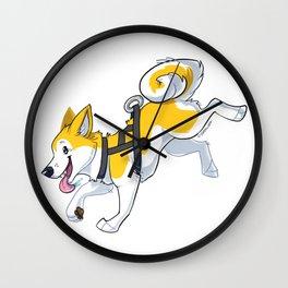 Yellow Husky Running Wall Clock