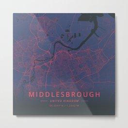Middlesbrough, United Kingdom - Neon Metal Print