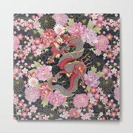 JAPANESE DRAGON & FLORAL KIMONO PRINT Metal Print