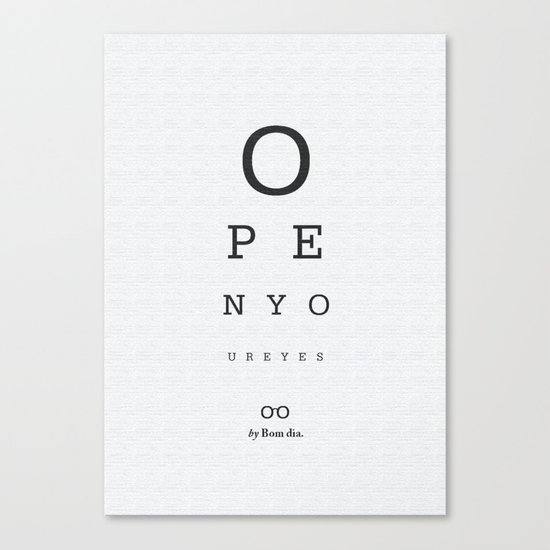 Open your eyes - Typographic Canvas Print