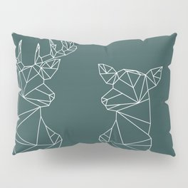 Geometric Stag and Doe (White on Slate) Pillow Sham