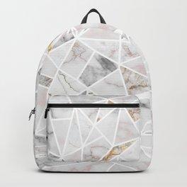 White Marbel Stone Geometric Backpack