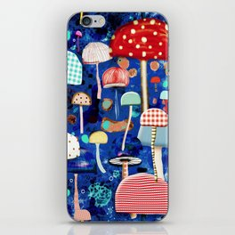 Blue Mushrooms - Zu hause Marine blue Abstract Art iPhone Skin