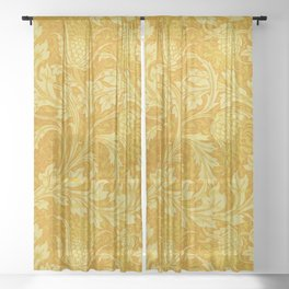 Yellow Artichoke by Walter Crane Sheer Curtain