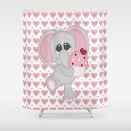 Baby Elephant Loves Cupcakes Shower Curtain