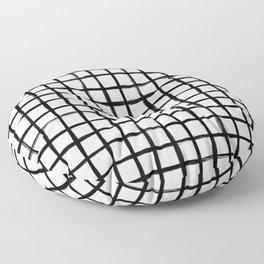 Strokes Grid - Black on Off White Floor Pillow
