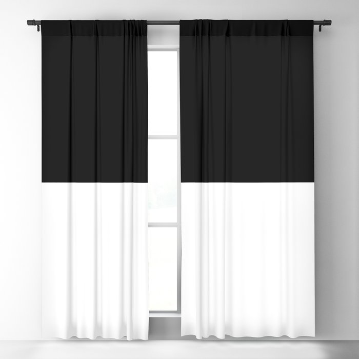 Black and white - Half and Half Split Blackout Curtain