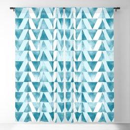Mid Century Modern Art Geometric Pattern of Teal Blue Triangles Blackout Curtain