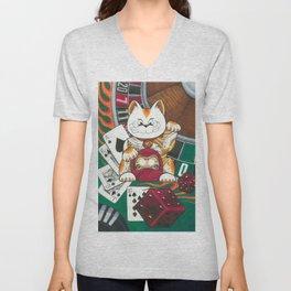 Lucky Cat Gambler Unisex V-Neck