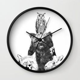 Black and White Woodland Animals Wall Clock