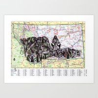 montana Art Prints featuring Montana by Ursula Rodgers