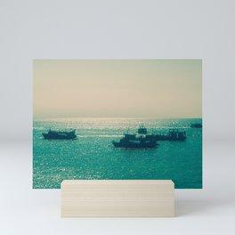 Endless Horizon. Boats Sailing into the Sea. Vintage Photography. Mini Art Print