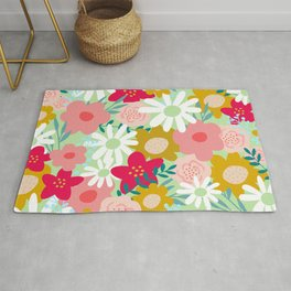 Floral Prints, Yellow, Pink and Green, Cute, Colourful Prints Rug
