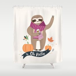 Comfy Sloth for the Fall & Pumpkin Shower Curtain