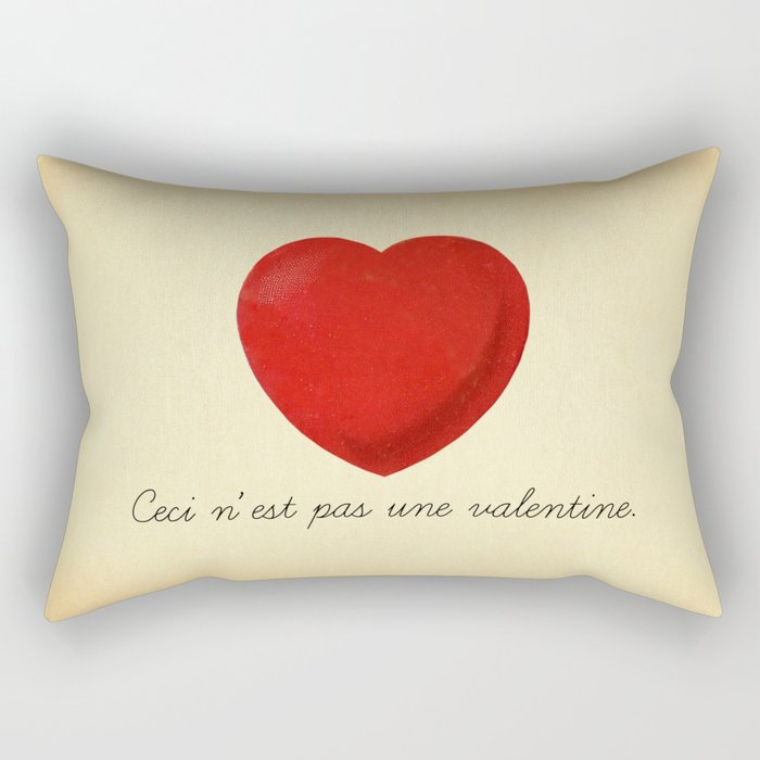 Ceci n'est pas une valentine (this is not a valentine) Rectangular Pillow