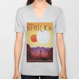 NASA Retro Space Travel Poster #8 Kepler 16b Unisex V-Neck