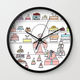 Mimi Loves Wes Anderson movies and cake Wall Clock