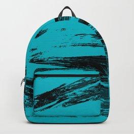 Big Wave : Aqua, blue, and black ink strokes Backpack