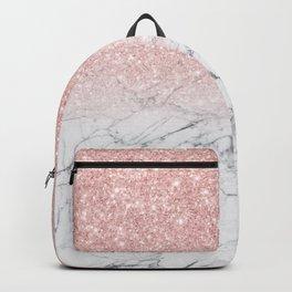 Elegant Chic Pink Glitter Gray White Marble Gradient Backpack
