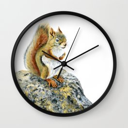 Bright-eyed and Bushy-tailed by Teresa Thompson Wall Clock