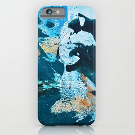 Dust and Matter: a pretty abstract painting in blue and gold by Alyssa Hamilton art iPhone Case