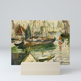 Ships in Harbor coastal nautical landscape painting by Hayley Lever Mini Art Print