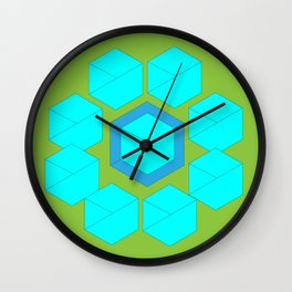 Cubic figure/flower in aqua/teal/mint/blue/green Wall Clock