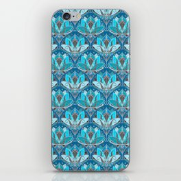 Art Deco Lotus Rising - black, teal & turquoise pattern iPhone Skin