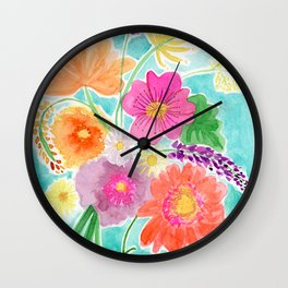 Bright Spring Bouquet Wall Clock