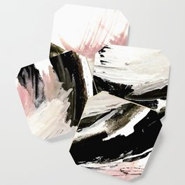 Crash: an abstract mixed media piece in black white and pink Coaster