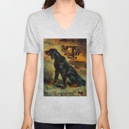 """Henri de Toulouse-Lautrec """"Dun, a Gordon Setter Belonging to Comte Alphonse de Toulouse Lautrec"""" Unisex V-Neck"""