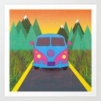 volkswagon Art Prints featuring Das Auto by Daizy Jain