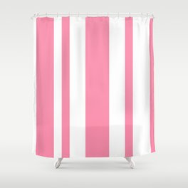 Mixed Vertical Stripes - White and Flamingo Pink Shower Curtain