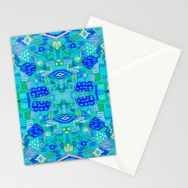 Boho Patchwork in Cool Tones Stationery Cards